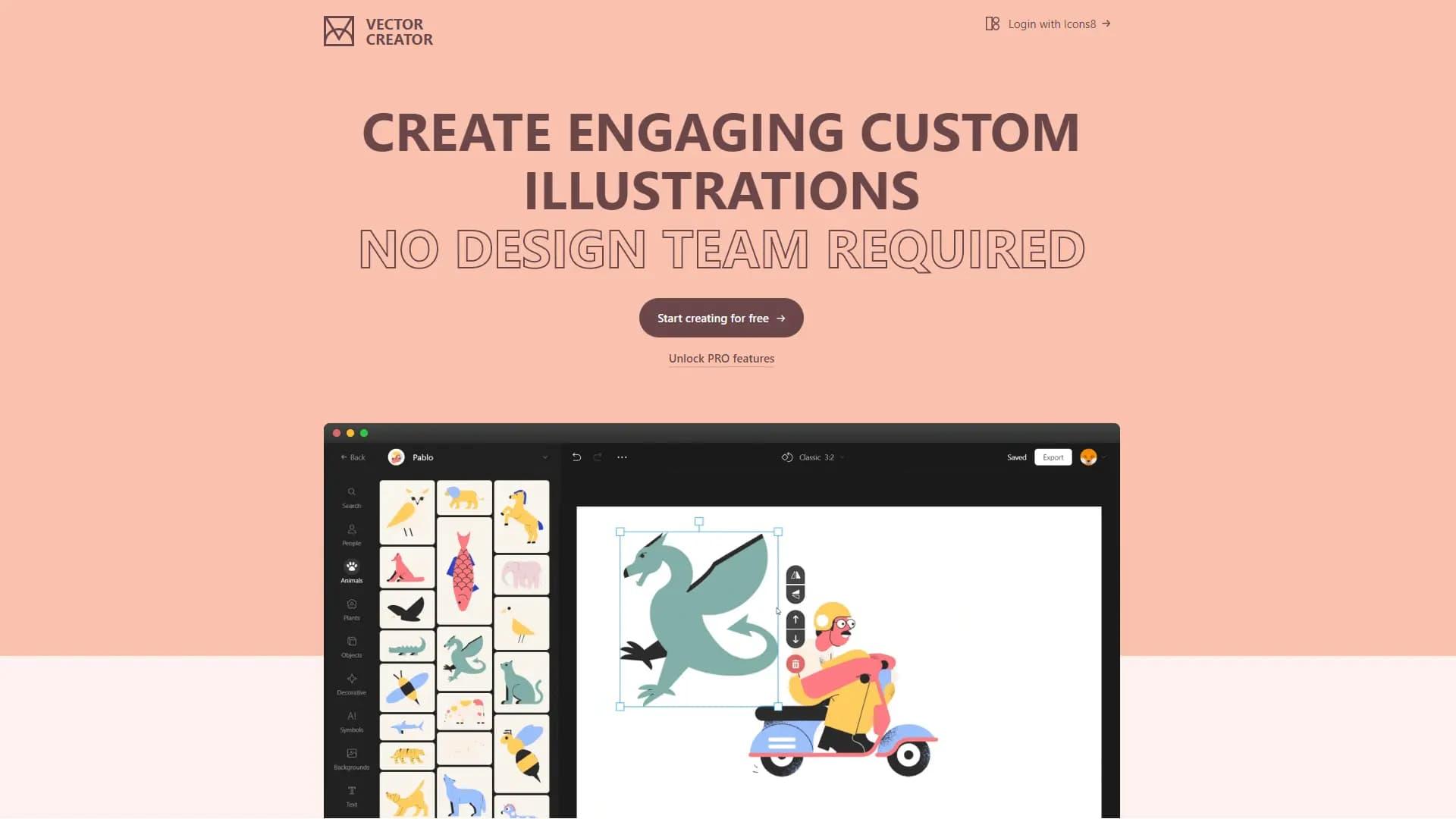 Icons8推出的在线插画设计「Vector Creator」